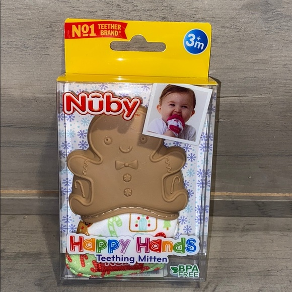 Nuby Teething Mitten- Holiday Design- Velcro Fit